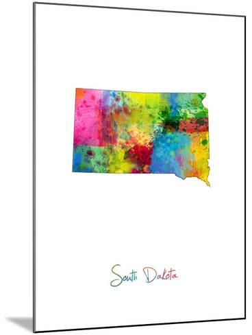 South Dakota Map-Michael Tompsett-Mounted Art Print