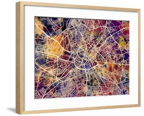 Manchester England City Street Map-Michael Tompsett-Framed Art Print