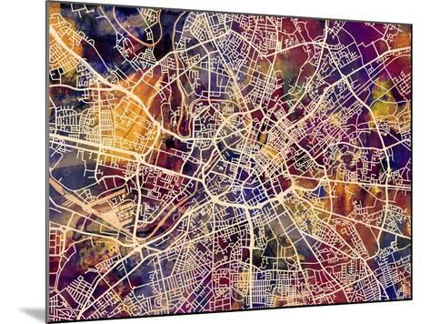 Manchester England City Street Map-Michael Tompsett-Mounted Art Print