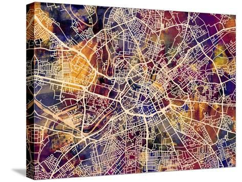 Manchester England City Street Map-Michael Tompsett-Stretched Canvas Print