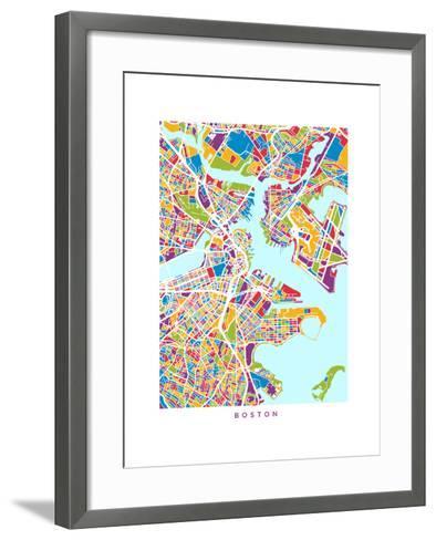 Boston Massachusetts City Street Map-Michael Tompsett-Framed Art Print