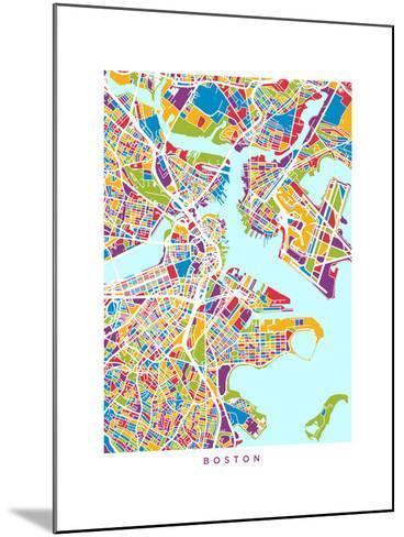 Boston Massachusetts City Street Map-Michael Tompsett-Mounted Art Print