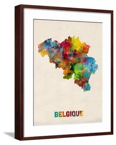 Belgium Watercolor Map-Michael Tompsett-Framed Art Print