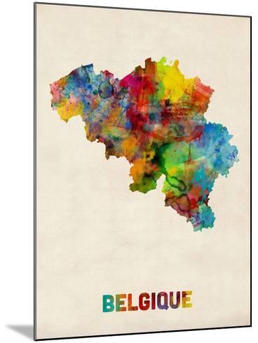 Belgium Watercolor Map-Michael Tompsett-Mounted Art Print