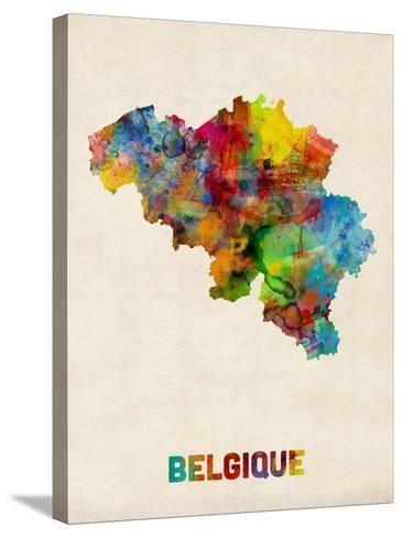Belgium Watercolor Map-Michael Tompsett-Stretched Canvas Print
