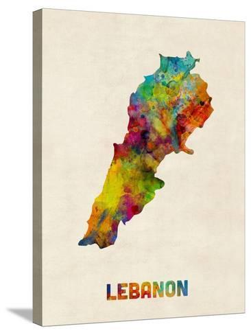 Lebanon Watercolor Map-Michael Tompsett-Stretched Canvas Print