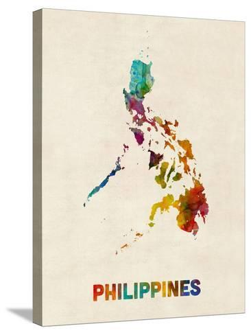 Philippines Watercolor Map-Michael Tompsett-Stretched Canvas Print