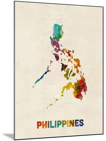 Philippines Watercolor Map-Michael Tompsett-Mounted Art Print