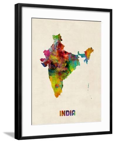 India Watercolor Map-Michael Tompsett-Framed Art Print