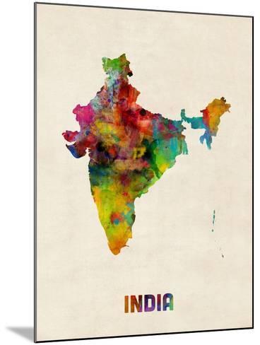 India Watercolor Map-Michael Tompsett-Mounted Art Print