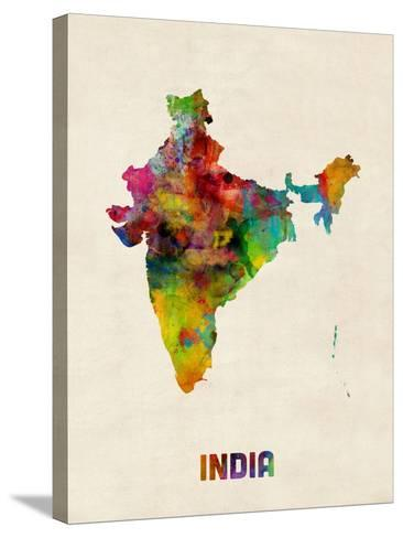 India Watercolor Map-Michael Tompsett-Stretched Canvas Print