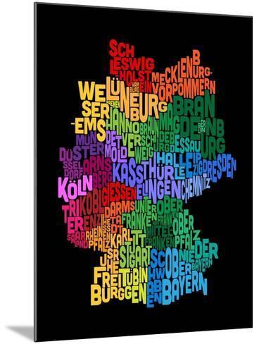 Text Map of Germany Map-Michael Tompsett-Mounted Art Print