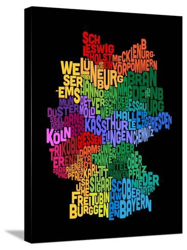 Text Map of Germany Map-Michael Tompsett-Stretched Canvas Print