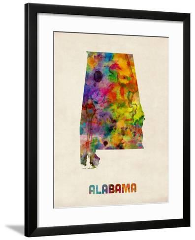 Alabama Watercolor Map-Michael Tompsett-Framed Art Print