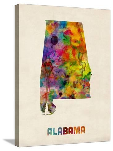Alabama Watercolor Map-Michael Tompsett-Stretched Canvas Print