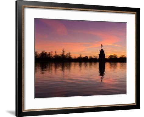 Bushey Park Lake At Sunset-Charles Bowman-Framed Art Print