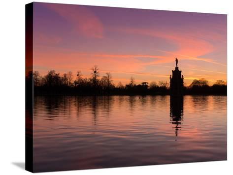 Bushey Park Lake At Sunset-Charles Bowman-Stretched Canvas Print