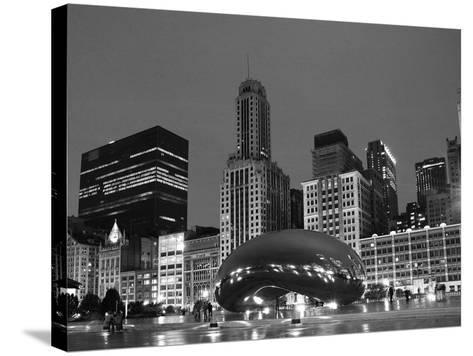 Chicago Black White-Patrick Warneka-Stretched Canvas Print