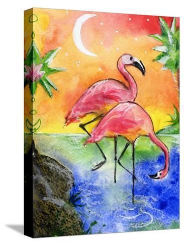Pink Flamingos-sylvia pimental-Stretched Canvas Print