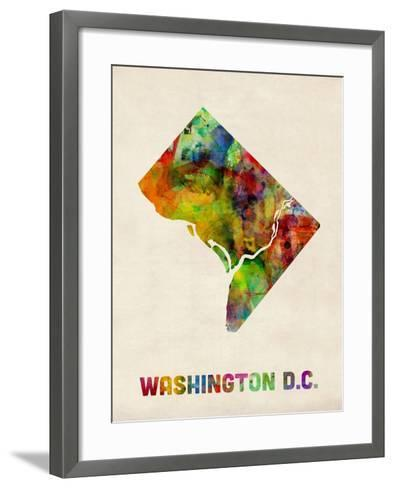 Washington DC, District of Columbia Watercolor Map-Michael Tompsett-Framed Art Print