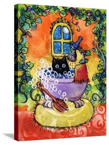 Black Cat Bath-sylvia pimental-Stretched Canvas Print