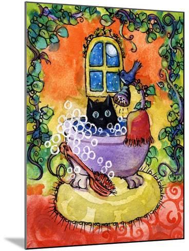 Black Cat Bath-sylvia pimental-Mounted Art Print