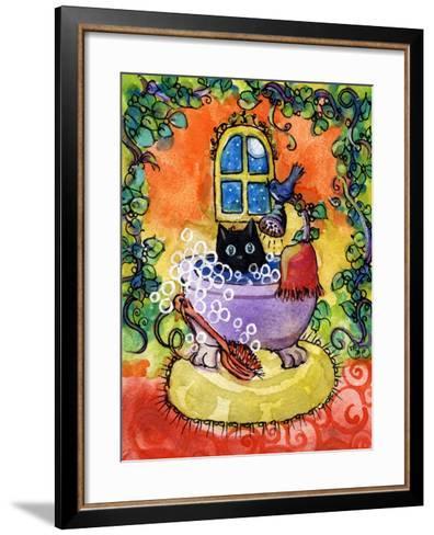 Black Cat Bath-sylvia pimental-Framed Art Print
