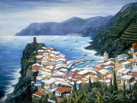 Rooftops of Vernazza-Marilyn Dunlap-Stretched Canvas Print