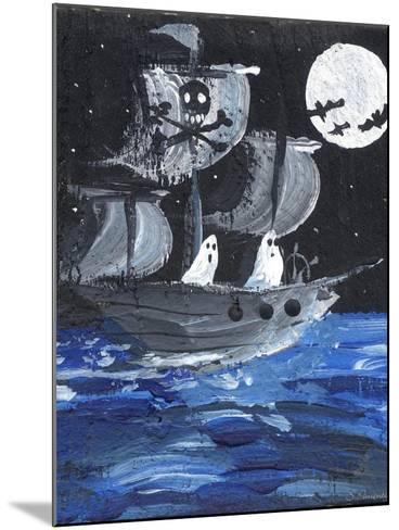 Ghost Ship Skull & Cross Bones Halloween-sylvia pimental-Mounted Art Print