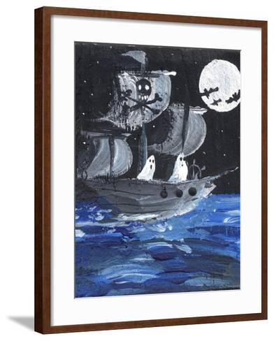Ghost Ship Skull & Cross Bones Halloween-sylvia pimental-Framed Art Print