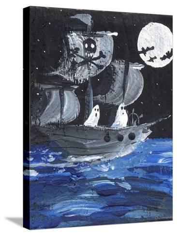 Ghost Ship Skull & Cross Bones Halloween-sylvia pimental-Stretched Canvas Print