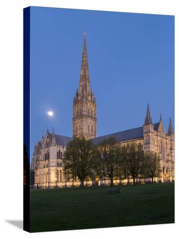 Salisbury Cathedral At Dusk With Moon-Charles Bowman-Stretched Canvas Print