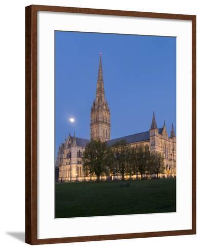 Salisbury Cathedral At Dusk With Moon-Charles Bowman-Framed Art Print