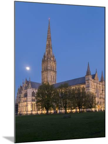 Salisbury Cathedral At Dusk With Moon-Charles Bowman-Mounted Photographic Print