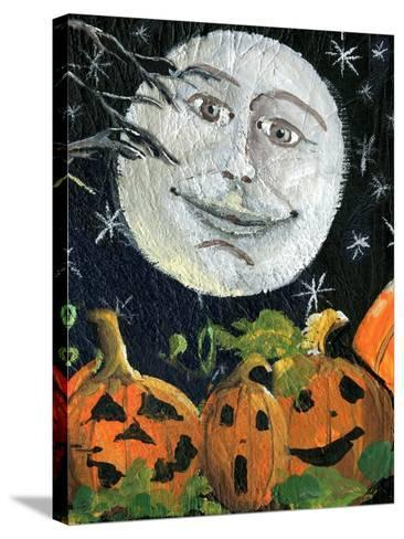 Pumpkin Patch Halloween Full Moon Face-sylvia pimental-Stretched Canvas Print