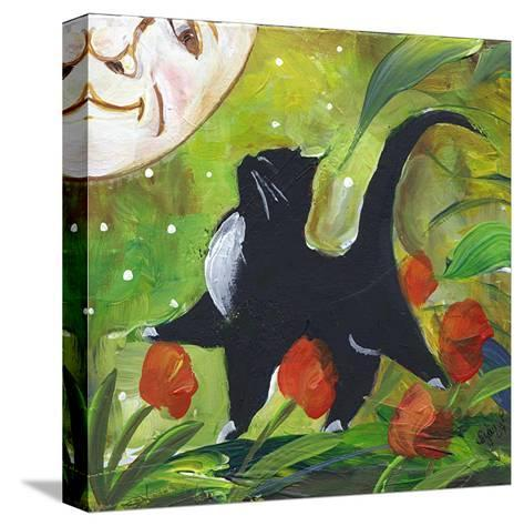 Tuxedo Cat With Moonface & Tulips-sylvia pimental-Stretched Canvas Print