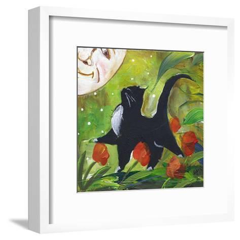 Tuxedo Cat With Moonface & Tulips-sylvia pimental-Framed Art Print