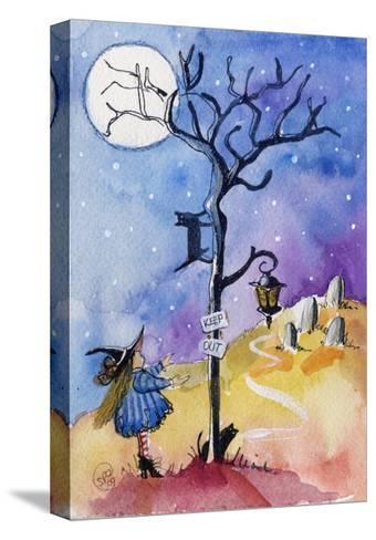 Halloween Graveyard Black Cat Keep Out-sylvia pimental-Stretched Canvas Print