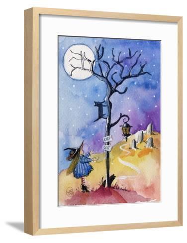 Halloween Graveyard Black Cat Keep Out-sylvia pimental-Framed Art Print