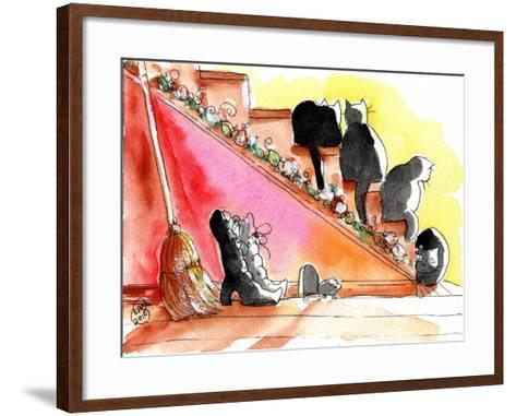Witch Boots, Broom, Mouse Halloween Black Cats-sylvia pimental-Framed Art Print