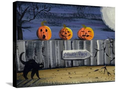 Spooky Path Jack O Lantern Pumpkins-sylvia pimental-Stretched Canvas Print