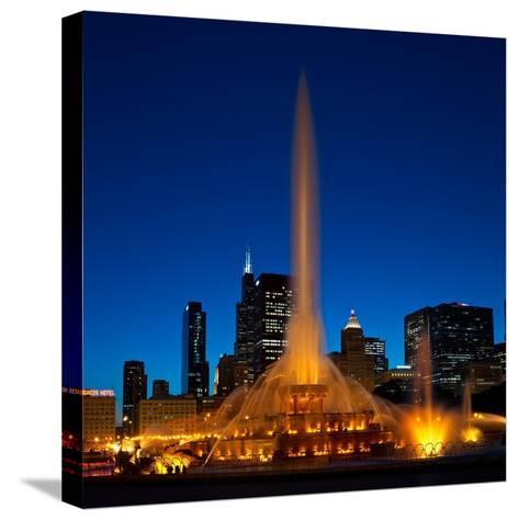 Buckingham Fountain Nightlight Chicago-Steve Gadomski-Stretched Canvas Print