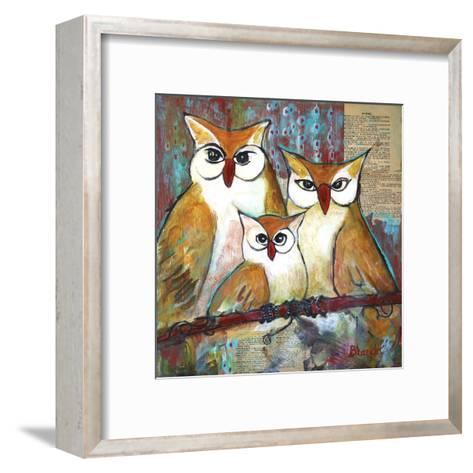 Owl Family Portrait-Blenda Tyvoll-Framed Art Print