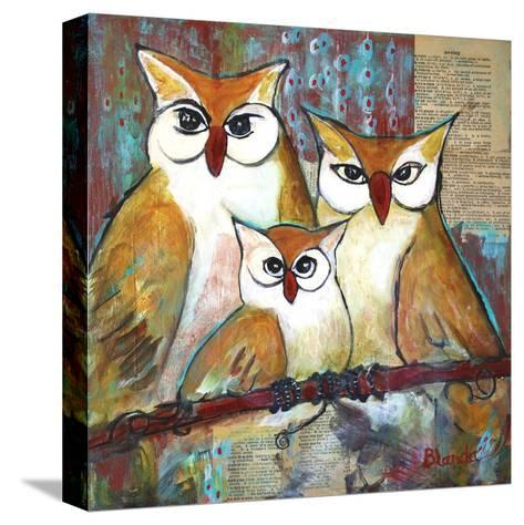 Owl Family Portrait-Blenda Tyvoll-Stretched Canvas Print
