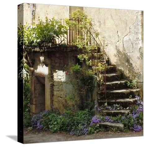 French Staircase with Flowers II-Marilyn Dunlap-Stretched Canvas Print