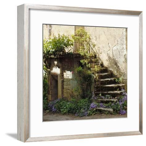 French Staircase with Flowers II-Marilyn Dunlap-Framed Art Print