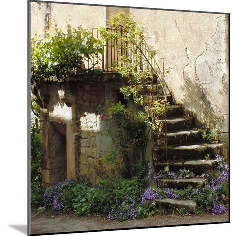 French Staircase with Flowers II-Marilyn Dunlap-Mounted Art Print