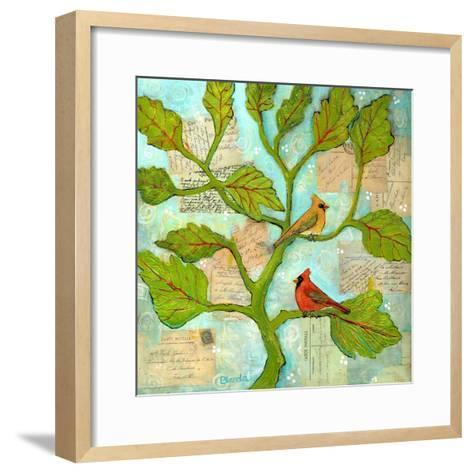 Cardinal Love Notes-Blenda Tyvoll-Framed Art Print