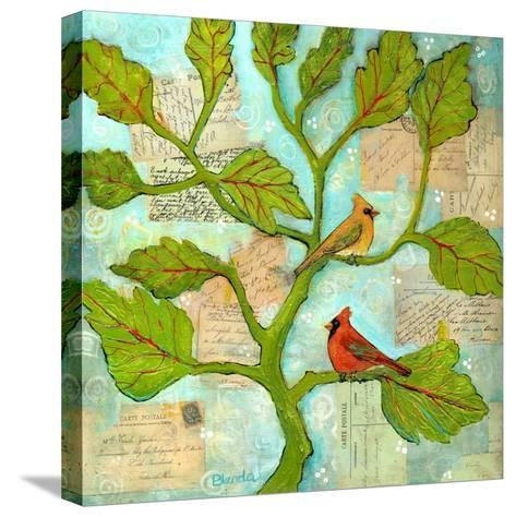 Cardinal Love Notes-Blenda Tyvoll-Stretched Canvas Print