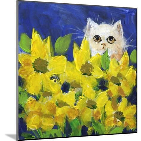 Gold Eye White Persian in Yellow Flowers-sylvia pimental-Mounted Art Print